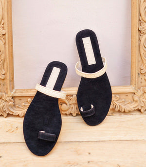 Artemis Suede and Raffia Slides