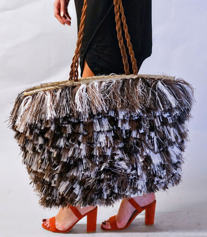Bag - Bella Tri-colored Tiered Straw Fringe Tote