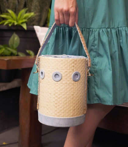 Bag - Conching Buri And Velvet Bag - Sky Blue