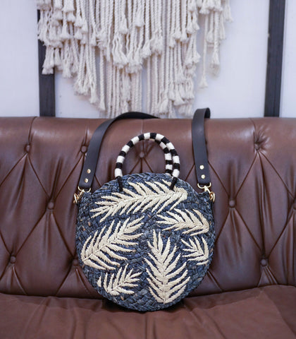Bag - Dahlia Circle Straw Bag (Blue)