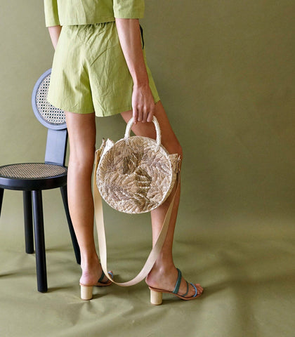 Bag - Dahlia Circle Straw Bag (Cream)