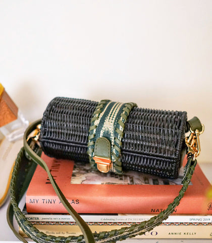 Bag - Guyam Cylindrical Wicker Sling Bag