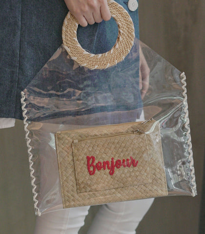 Bag - Jasna Clear Tote With Woven Pouch - White