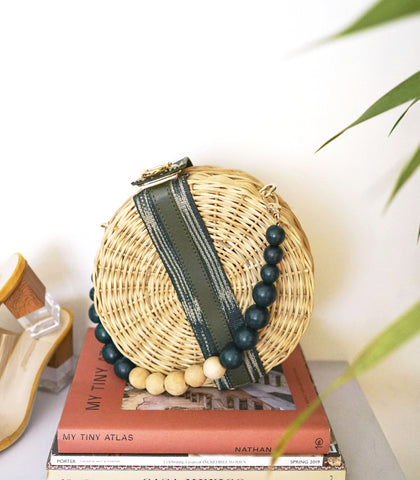 Bag - Lagen Round Wicker Hand Bag
