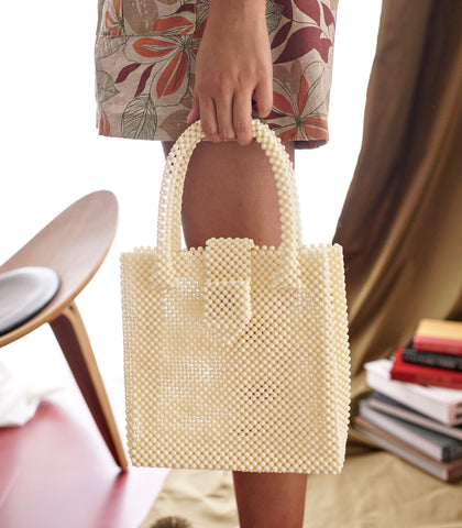 Bag - Perlina Beaded Hand Bag - Light Cream