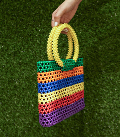 Bag - Perlina Beaded Hand Bag - Striped