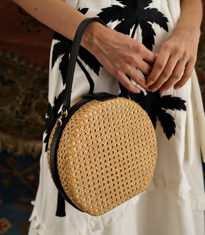 Bag - Teresita Mini Round Tote - Black / Natural