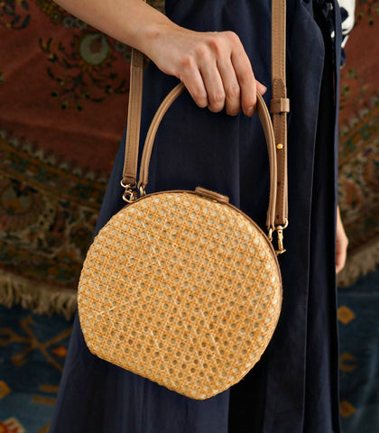 Bag - Teresita Mini Round Tote - Nude / Natural