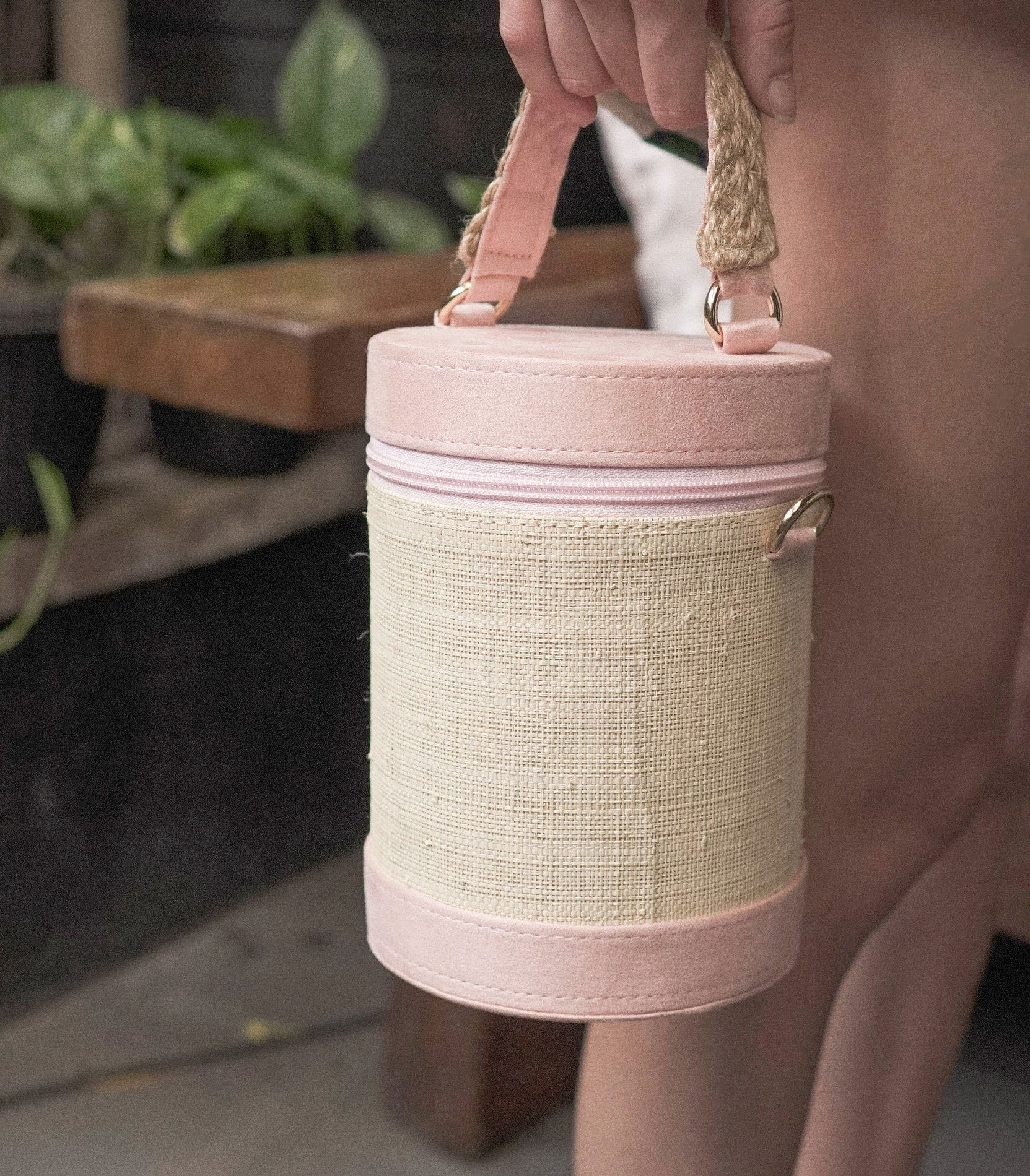 Vanya Abaca and Velvet Bag - Pink Blush