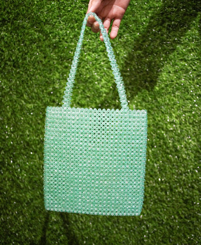 Bag - Vilca Beaded Hand Bag - Aquamarine