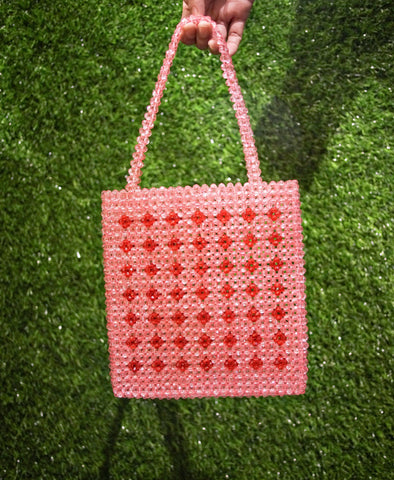 Bag - Vilca Beaded Hand Bag - Carnation