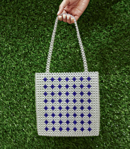 Bag - Vilca Beaded Hand Bag - Clear And Blue