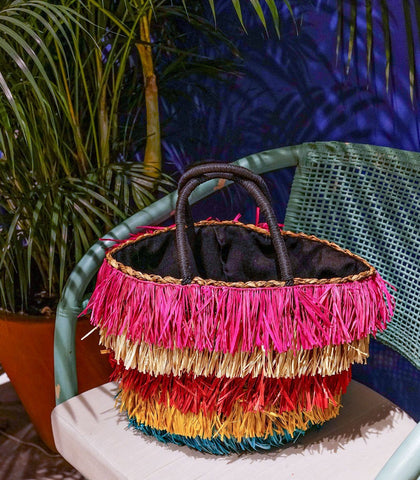 Bag - Ximena Multi Color Fringe Abaca Bag