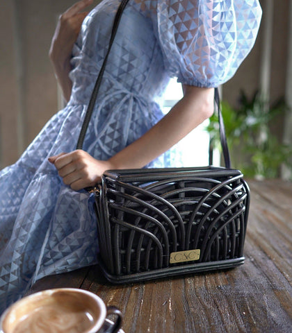 Bags - Alon Rattan Shoulder Bag - Black