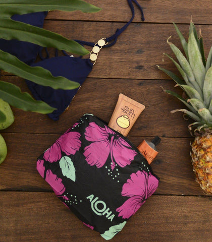 Bags - Black Hibiscus Pitaya Print Splash-Proof Travel Pouch