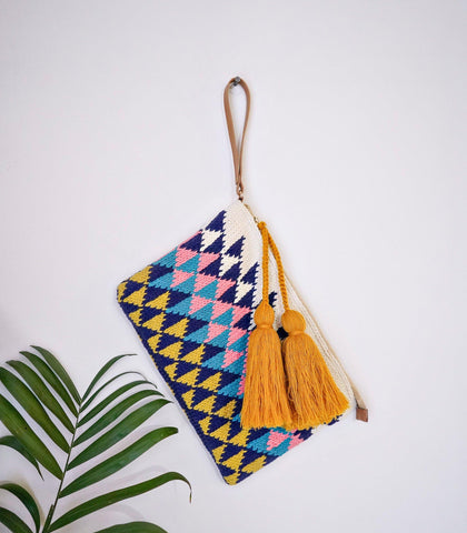 Bags - Hand Knit Cotton Clutch - Multicolor
