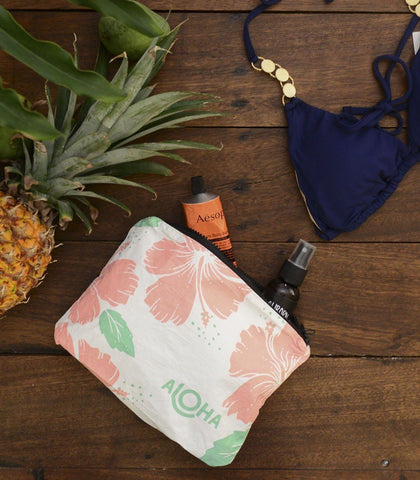 Bags - White Hibiscus Guava Print Splash-Proof Travel Pouch