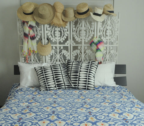 Beddings - Mayari Ikat Kantha Quilts - Blue
