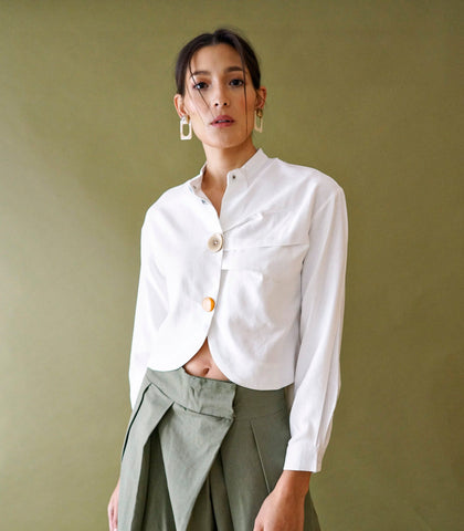 Blouse - Andenne Cropped Blouse (White)