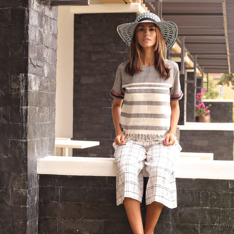 Blouse - Lautoka Gray Fringe Linen Top