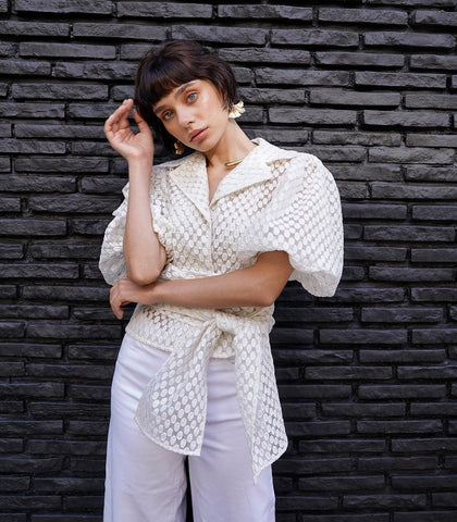 Blouse - Leuven Puff Sleeve Blouse (White Embroidered)