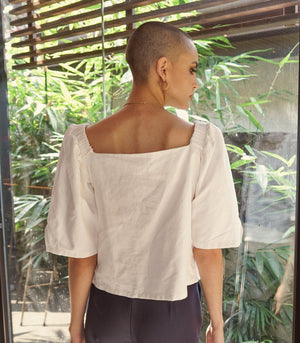 Palmi Linen Lace-Up Front Top