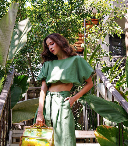 Blouse - Verdal Puff Crop Top (Pine)