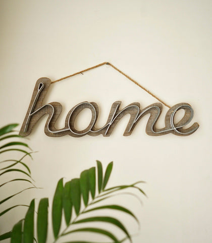 Books & Gifts - HOME Wood And Metal Wall Sign