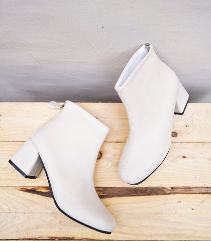 Boots - Turin Low Heel Ankle Boots - Off White