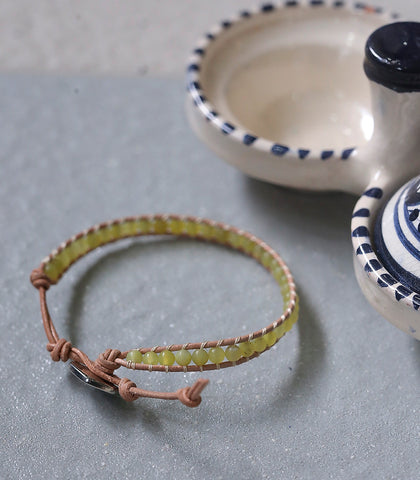 Bracelet - Aventurine Leather Bracelet