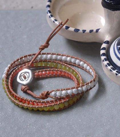 Bracelet - Semi-Precious Stones Triple-Wrap Leather Bracelet