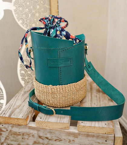 Bucket Bag - Agueda Leather Bucket Bag (Large - Teal)