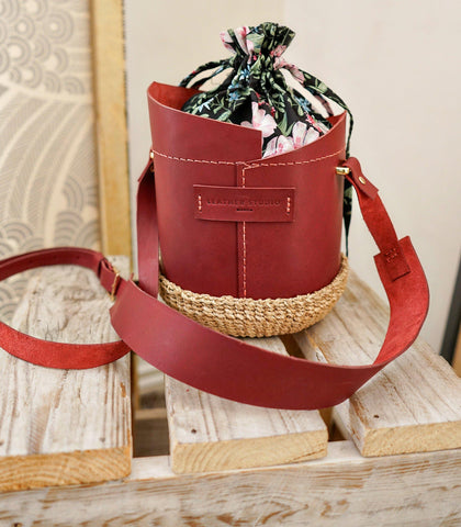Bucket Bag - Agueda Leather Bucket Bag (Mini - Burgundy)