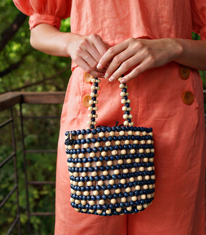 Bucket Bag - Cassis Wooden Bead Bucket Bag