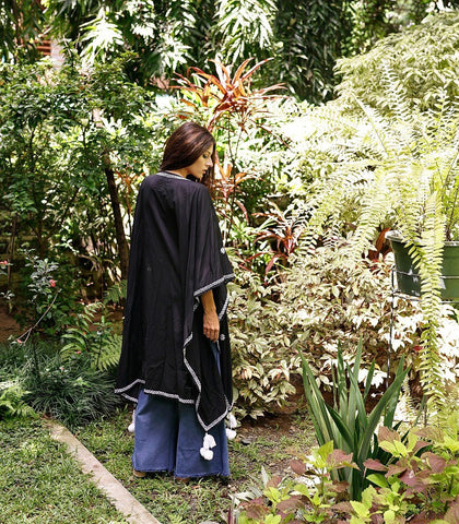 Caftan - Balquemo Embroidered Cape (Black)