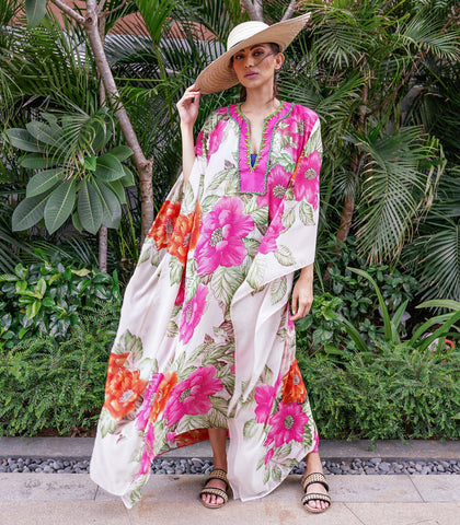 Caftan - Calenga Floral Print Caftan With A Beaded Neckline