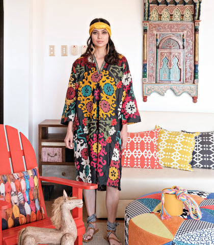 Caftan - Luxilo Multi-Colored Embroidered Suzani Caftan