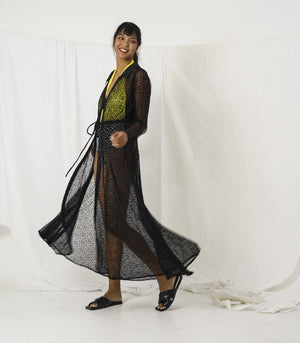 Caftan - Mecheria Long Sleeve Lace Tulle Tie-Front Caftan