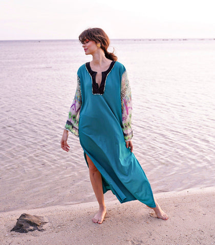 Caftan - Pomoni Color Block Caftan With Animal Print Sleeves