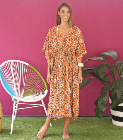 Caftan - Todos Santos Orange Hand Block Cotton Caftan