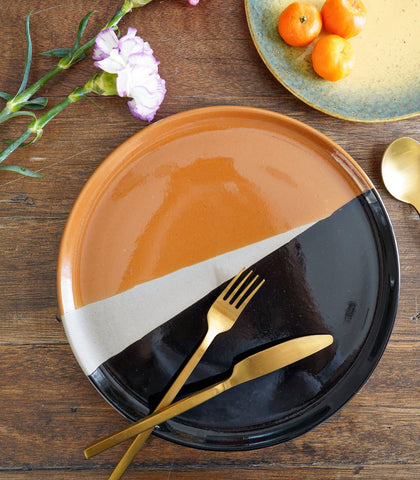 Ceramic Plate - Black & Mustard Ombre Dinner Plate