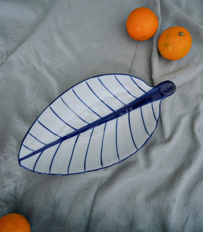 Ceramics - Blue & White Leafy Snack Bowl