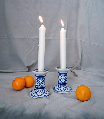Ceramics - Blue & White Taper Candle Holder