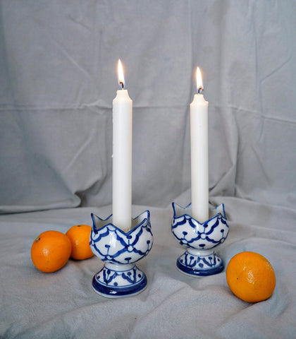 Ceramics - Blue & White Tulip Candle Holder  (set Of 2)