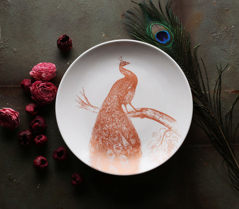 Ceramics - Perched Peacock Dinner Plate