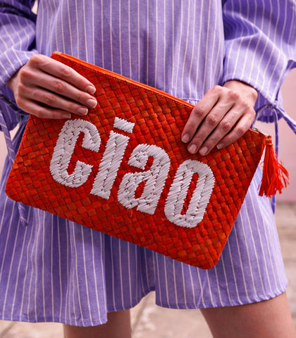 Clutch - Ciao! Embroidered Pandan Clutch