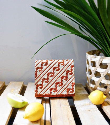 Clutch - Lara Samar Square Banig Clutch - Burnt Orange