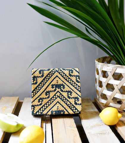 Clutch - Lara Samar Square Banig Clutch - Yellow Mix