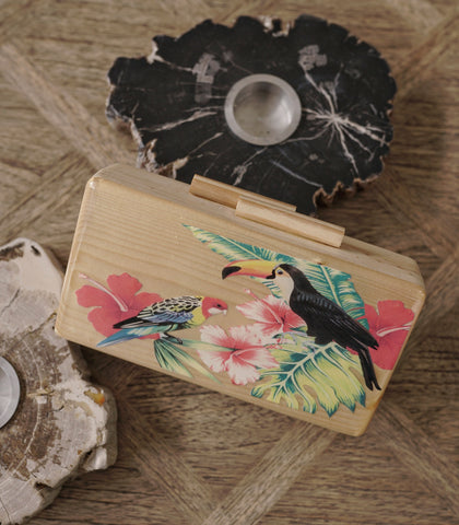 Clutch - Praia Wooden Box Clutch - Tropical
