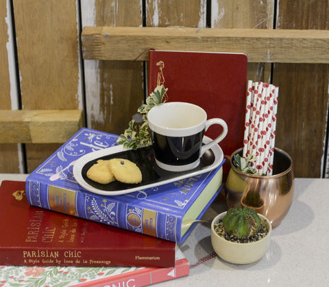 Coffee Mercantile - Espresso Cup With Biscotti Plate